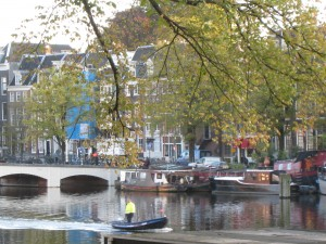 The view of the River Amstel was much calmer than what was going on inside!