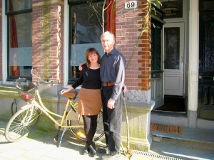 In front of our new home in Amsterdam... yes, that is my bike!